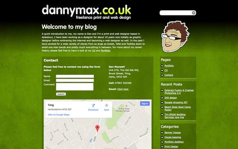Screenshot of Contact Page dannymax.co.uk - Freelance web and print design it Tring Herts   » Contact - captured Oct. 5, 2014