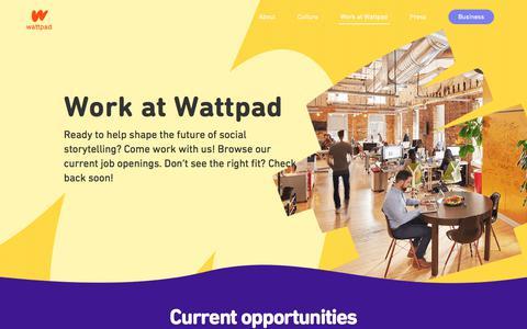 Screenshot of Jobs Page wattpad.com - Work at Wattpad   Jobs at Wattpad HQ - captured June 13, 2018