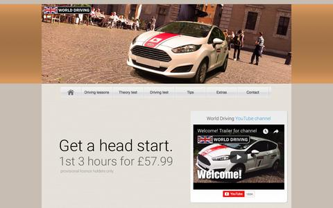 Screenshot of Home Page driving-school-beckenham.co.uk - 3 hours £57.99! Beckenham DRIVING SCHOOL; World Driving - captured Sept. 22, 2018