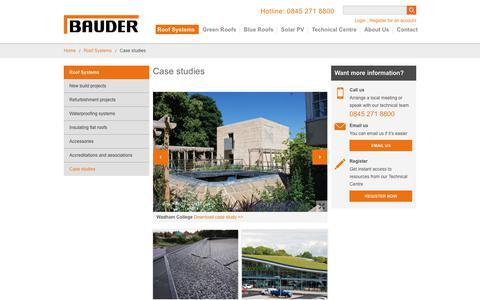Screenshot of Case Studies Page bauder.co.uk - Flat Roof System Case Studies and Gallery - Bauder - captured Nov. 6, 2018