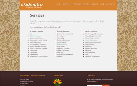 Screenshot of Services Page skidmutro.com - Services - Skidmutro Creative Partners - captured Oct. 26, 2014