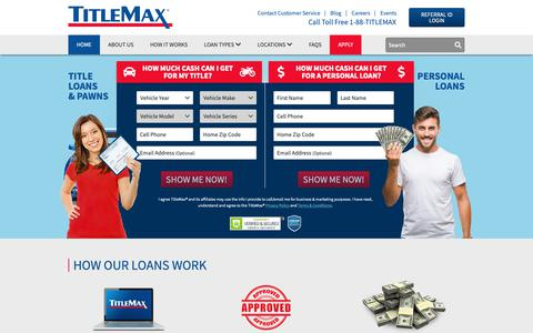 Screenshot of Home Page titlemax.com - Apply for Cash Loans Online with TitleMax | Same Day Title Loans - captured Feb. 15, 2019