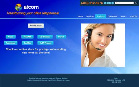 Screenshot of Products Page atcomsystems.ca - Online Business Telephone Pricing Calgary - Atcom - captured Oct. 4, 2014