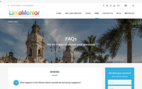 Screenshot of FAQ Page limamentor.com - FAQs - Lima Mentor - captured July 19, 2018