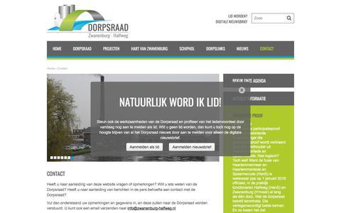 Screenshot of Contact Page zwanenburg-halfweg.nl - Contact - Dorpsraad Zwanenburg - Halfweg - captured June 9, 2018