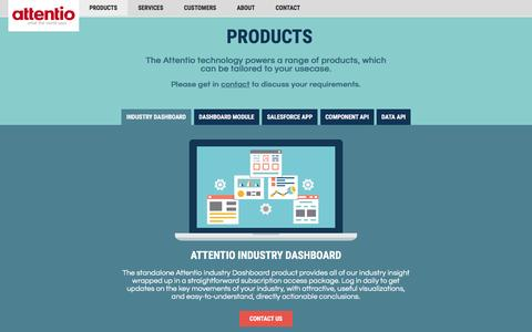 Screenshot of Products Page attentio.com - Products - Industry Dashboard - captured Dec. 3, 2015
