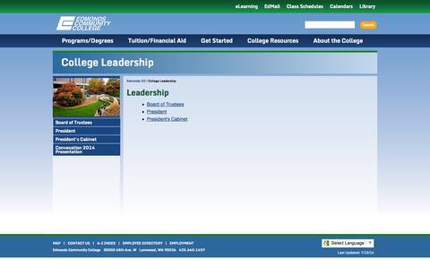 Screenshot of Team Page edcc.edu - Edmonds Community College: College Leadership - captured Oct. 31, 2014
