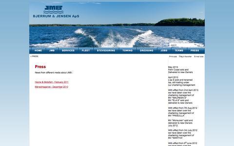Screenshot of Press Page jmb.dk - Press - captured Oct. 4, 2014