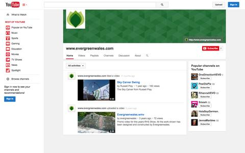 Screenshot of YouTube Page youtube.com - www.evergreenwales.com  - YouTube - captured Oct. 23, 2014