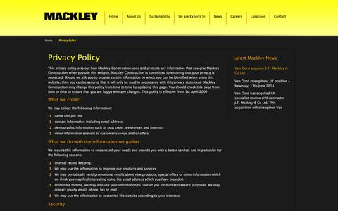 Screenshot of Privacy Page mackley.co.uk - Privacy Policy | Mackley - captured Sept. 30, 2014