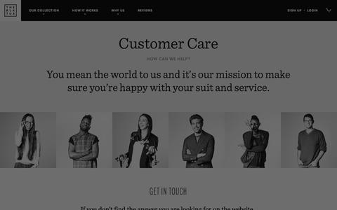 Screenshot of Contact Page Support Page theblacktux.com - Support | The Black Tux - captured Jan. 16, 2016