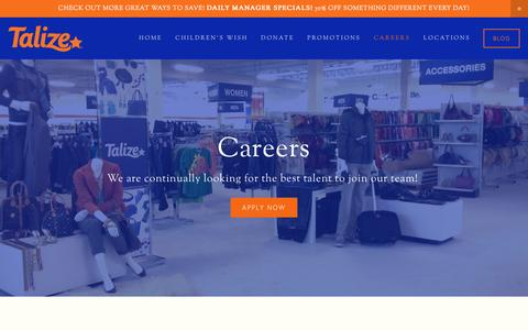 Screenshot of Jobs Page talize.com - Careers Ń Talize - captured Jan. 13, 2016