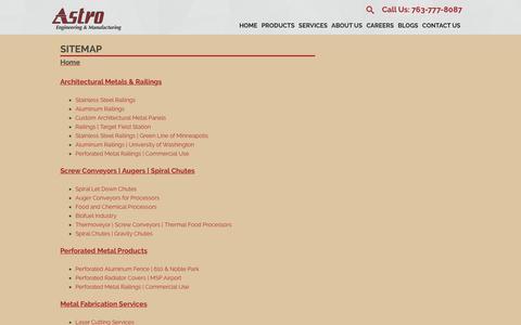 Screenshot of Site Map Page astroeng.com - Sitemap - Astro Engineering - captured Dec. 18, 2018
