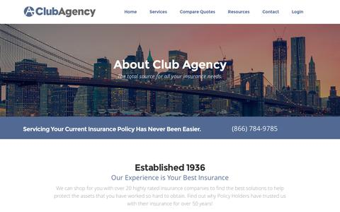 Screenshot of About Page clubagency.com - About Club Agency Insurance Brokerage - captured Nov. 7, 2016