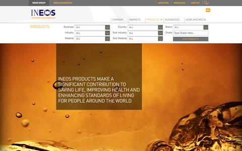 Screenshot of Products Page ineos.com - INEOS Products - captured Oct. 10, 2014