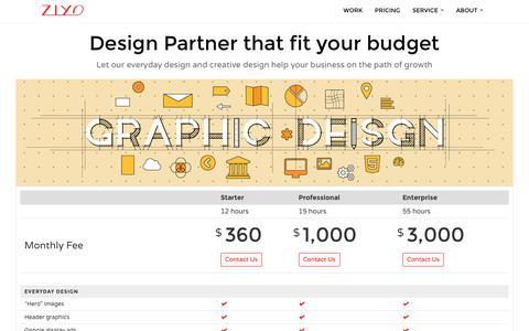 Screenshot of Pricing Page ziyodesign.com - Graphic Design Service | ZIYO Design - captured Sept. 20, 2018