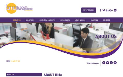 Screenshot of About Page bizmanagers.com - About BMA | Business Management Associates - captured Oct. 1, 2018