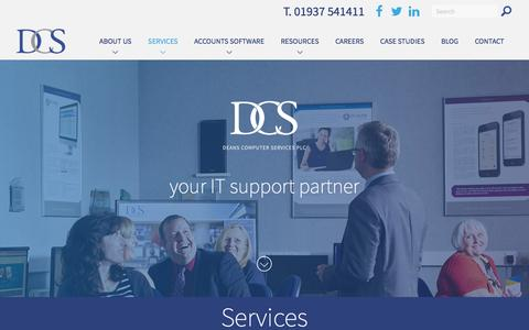 Screenshot of Services Page deansplc.co.uk - IT Support | Software Solutions | Yorkshire - captured Feb. 8, 2016