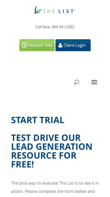 Screenshot of Trial Page  thelistinc.com - Start Trial -