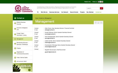 Screenshot of Team Page chamber.lk - Management - captured Nov. 5, 2014