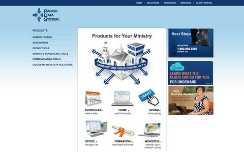 Screenshot of Products Page parishdata.com - Church Software by Parish Data System: Products Home - captured Oct. 1, 2014