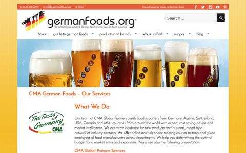 Screenshot of Services Page germanfoods.org - CMA German Foods - Our Services - Germanfoods.org - captured Oct. 7, 2016