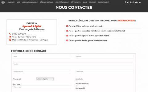 Screenshot of Contact Page expertsa.fr - Expert SA - Expert SA, agence web digitale à Paris dans le 12ème arrondissement - captured Dec. 8, 2018