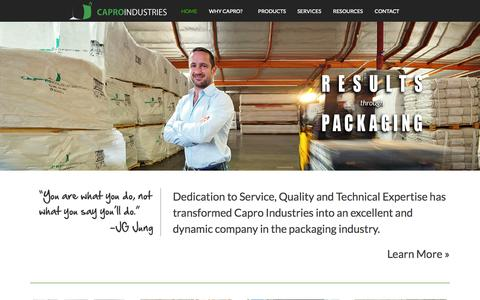 Screenshot of Home Page capro.net - Capro Industries - captured Oct. 1, 2014