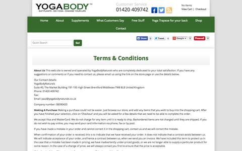 Screenshot of Terms Page yogabodynaturals.co.uk - Terms & Conditions | Yoga Supplements - captured Oct. 30, 2014