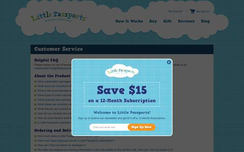 Screenshot of Support Page littlepassports.com - Customer Service - captured Oct. 1, 2015
