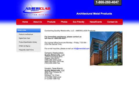 Screenshot of Contact Page americlad.com - Contact Us - Quality Metalcrafts, LLC - AMERICLAD® Products - 1-866-260-4047 - captured Oct. 3, 2014