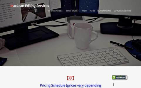 Screenshot of Pricing Page macleanediting.com - Proofreading, Editing, and Typesetting Services for Books, Websites, Businesses, Academia, and Creative Writing - captured Sept. 27, 2017