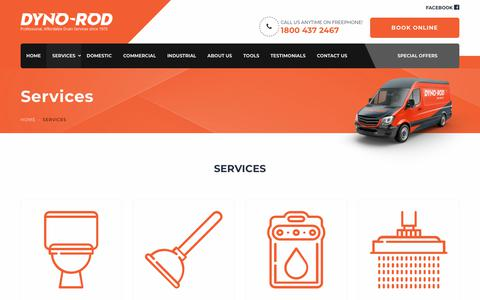 Screenshot of Services Page dynorod.ie - Services - Dometic, Commercial & Industrial Services Dyno-Rod - captured Dec. 19, 2018