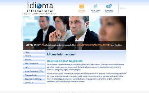 Screenshot of Home Page idiomacr.com - Idioma Internacional - captured Oct. 6, 2014