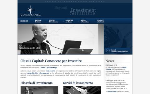 Screenshot of Home Page classiscapital.it - Classis Capital | Beyond investment solutions - captured Oct. 2, 2014