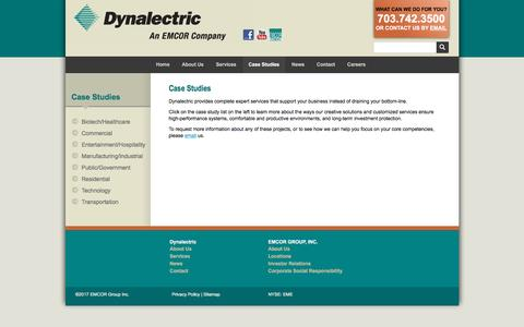 Screenshot of Case Studies Page dynalectric-dc.com - Dynalectric DC :: Case Studies - captured Jan. 26, 2017
