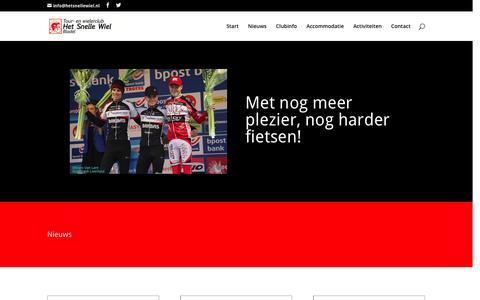 Screenshot of Home Page hetsnellewiel.nl - TWC Het Snelle Wiel   Met nog meer plezier, nog harder fietsen! - captured Feb. 16, 2016