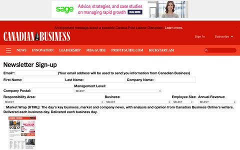 Screenshot of Signup Page canadianbusiness.com - Newsletter Sign-up - Canadian Business - Your Source For Business News - captured Aug. 22, 2016
