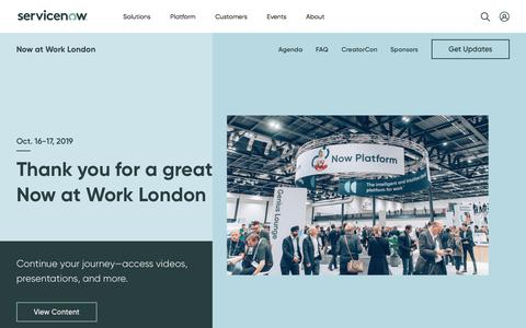 Screenshot of Case Studies Page servicenow.com - Now at Work London | ServiceNow - captured Nov. 27, 2019