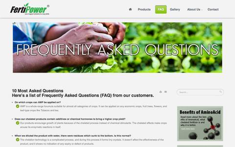Screenshot of FAQ Page fertipower.com - FAQ - Fertipower, your magical solutions to crop yields - captured Sept. 30, 2014