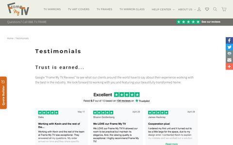 Screenshot of Testimonials Page framemytv.com - Frame My TV Testimonials & Reviews - captured Aug. 21, 2018