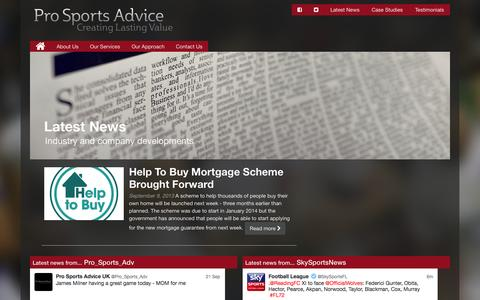 Screenshot of Press Page prosportsadvice.co.uk - Latest News - Pro Sports Advice : Pro Sports Advice - captured Sept. 30, 2014