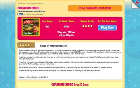 Screenshot of ohmybingo.com - New Bingo Site Charming Bingo | £20 free play + Spin the Wheel - captured March 19, 2016