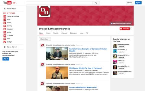 Screenshot of YouTube Page youtube.com - Driscoll & Driscoll Insurance  - YouTube - captured Oct. 23, 2014