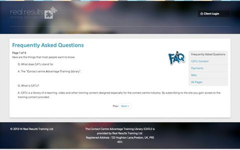 Screenshot of FAQ Page catli.co.uk - Frequently Asked Questions - captured Oct. 2, 2014