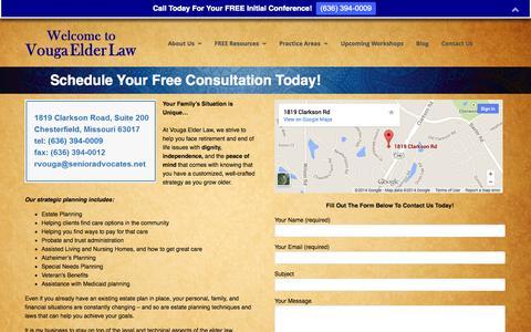 Screenshot of Contact Page vougaelderlaw.com - Contact Us | Elder Law / Estate Planning Attorney Chesterfield Missouri – Vouga Elder Law – Richard R. Vouga - captured Nov. 3, 2014