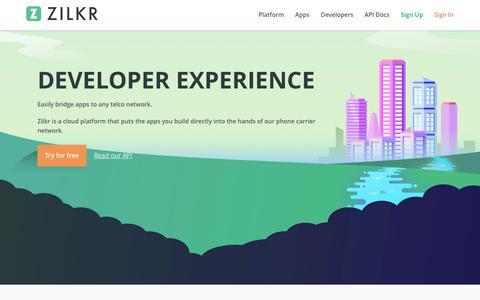 Screenshot of Developers Page zilkr.io - Developers - captured June 12, 2017