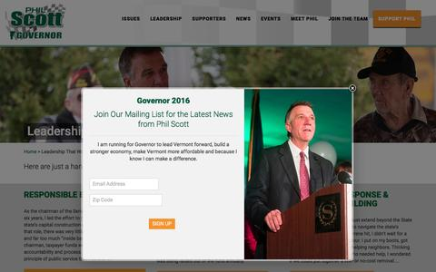 Screenshot of Team Page philscott.org - Leadership That Works - Phil Scott For Governor - captured May 22, 2016