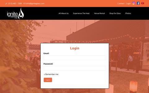 Screenshot of Login Page igniteglass.com - Login Now - Ignite Glass Studios - captured Oct. 11, 2018