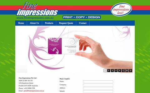 Screenshot of Contact Page fineimpressions.com.au - :: Fine Impressions Pty Ltd :: - captured Oct. 6, 2014